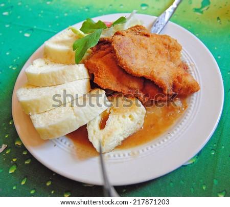 Czech dumplings with cutlet, Czech Republic - stock photo