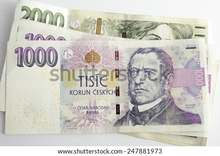 Czech korunas CZK, banknotes - stock photo