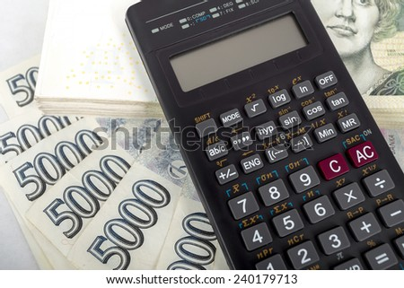 Czech money 5 000 banknotes and calculator, money concept - stock photo