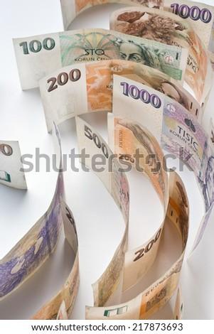 czech money, czech krown - stock photo