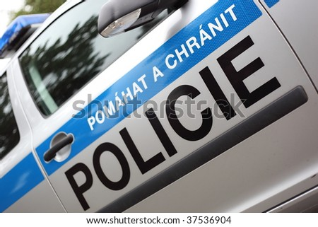 Czech police car - stock photo