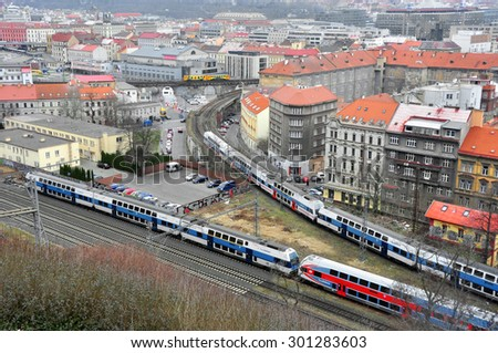 CZECH PRAGUE MARCH 7: Panorama of the city on March 7 2015 in Prague,Czech Republic. - stock photo