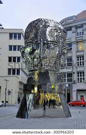 CZECH PRAGUE MARCH 7: The moving sculpture by Czech artist David Cerny on March 7 2015 in Prague,Czech Republic. - stock photo