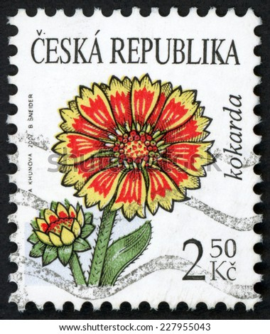 CZECH REPUBLIC- CIRCA 2007: post stamp printed in Czechoslovakia (Ceska) shows illustration of gaillardia (blanket, cockade, kokarda) flower on white; Scott 3363 A1215 2.50k yellow red, circa 2007 - stock photo
