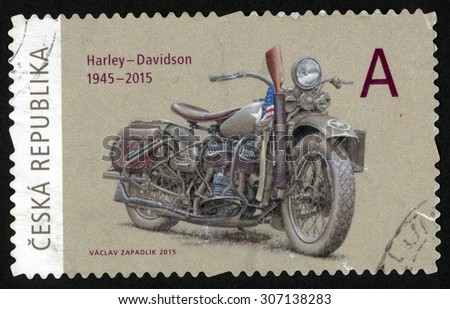 CZECH REPUBLIC - CIRCA 2015: post stamp printed in Czechoslovakia (Ceska) shows motorcycle Harley Davidson; 1945-2015; they brought freedom series; circa 2015 - stock photo