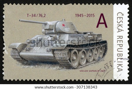 CZECH REPUBLIC - CIRCA 2015: post stamp printed in Czechoslovakia (Ceska) shows T-34/76 tank; 1945-2015; they brought freedom series; circa 2015 - stock photo