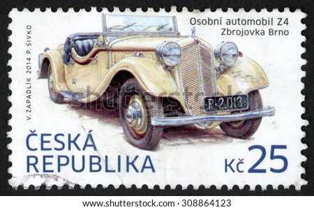 CZECH REPUBLIC - CIRCA 2014: post stamp printed in Czechoslovakia (Ceska) shows Z4 automobile (Zbrojovka Brno); historical vehicles; 25k, circa 2014 - stock photo