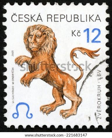 CZECH REPUBLIC - CIRCA 2001: post stamp printed in Czechoslovakia (Ceska) shows zverokruh lev; horoscope sign leo; astrological zodiac symbol; Scott 3072 A1149 12k brown, circa 2001 - stock photo