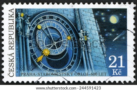 CZECH REPUBLIC - CIRCA 2010: post stamp printed in Czechosovakia (Ceska) shows astronomical clock (staromestsky orloj) in night; 600th anniversary of Prague Old Town; Scott 3458 21k; circa 2010;  - stock photo