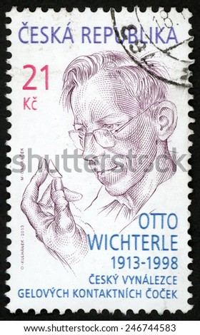 CZECH REPUBLIC - CIRCA 2013: stamp printed in Ceska (Czechoslovakia) shows portrait of chemist Otto Wichterle (1913-1998) inventor of contact lenses; Scott 8000 21k; circa 2013 - stock photo