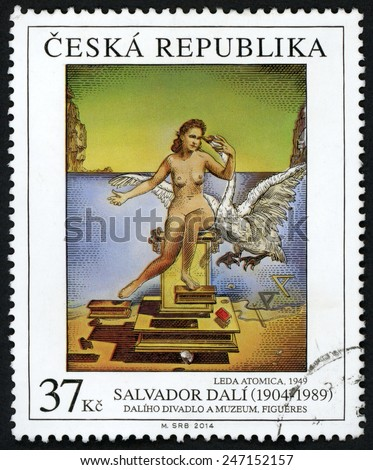 CZECH REPUBLIC - CIRCA 2014: stamp printed in Ceska shows painting Leda Atomica 1949 (nude woman queen of Sparta & swan); Salvador Dali (1904-1989); Daliho divadlo a museum, Figueres; 37k; circa 2014 - stock photo