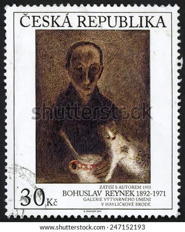 CZECH REPUBLIC - CIRCA 2013: stamp printed in Ceska shows painting Zatisi s autorem 1955 (Still life with author); Bohuslav Reynek (1892-1971); art gallery Havlickuv Brod; Scott 8000 30k; circa 2013 - stock photo