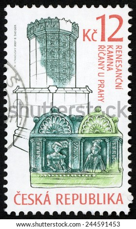 CZECH REPUBLIC - CIRCA 2007: stamp printed in Ceska shows renaissance era stove and decorated tile with noble woman & man, Ricany u Prahy; historic stoves; Scott 3350 A1317 green blue 12k, circa 2007 - stock photo
