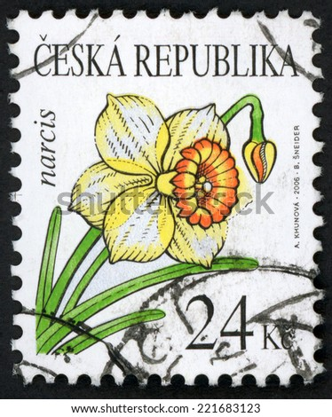 CZECH REPUBLIC - CIRCA 2006: stamp printed in Czechoslovakia (Ceska) shows illustration of yellow daffodil (narcis; narcissus) flower on white; flower type of 2002; Scott 3294 A1215 24k, circa 2006 - stock photo