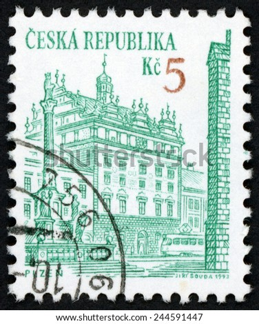 CZECH REPUBLIC - CIRCA 1993: stamp printed in Czechoslovakia (Ceska) shows renaissance town hall & st. Mary plague column; Plzen (Pilsen); cities & architecture; Scott 2892 A1059 5k green, circa 1993 - stock photo