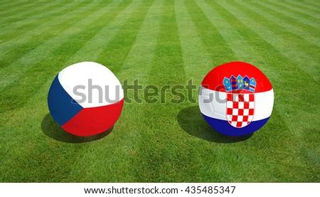 Czech Republic / Croatia soccer game on grass soccer field 3d Rendering. - stock photo