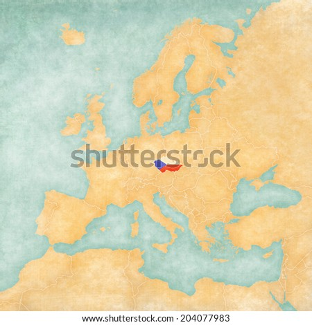 Czech Republic (Czech flag) on the map of Europe. The Map is in vintage summer style and sunny mood. The map has a soft grunge and vintage atmosphere, which acts as watercolor painting on old paper.  - stock photo