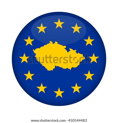 Czech Republic map on a European Union flag button isolated on a white background. - stock photo