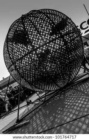 CZECH REPUBLIC, PLZEN - MOTOSHOW FMX Freestyle Borska pole - April 14 2012: Globe of death during the motoshow on April 14, 2012 in Pilsen - Borska pole, Czech Republic - stock photo