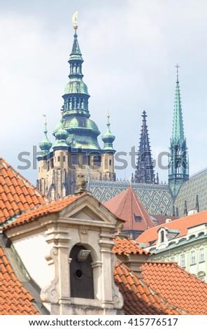 Czech Republic, Prague _ View of St. Vitus Cathedral from Wallenstein Garden - stock photo