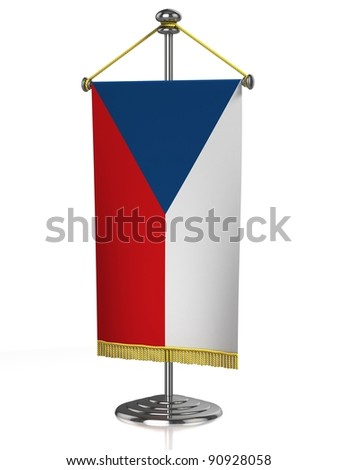 Czech Rerpublic table flag isolated on white - stock photo