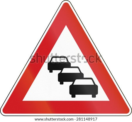 Czech sign warning about likeliness of traffic queues. - stock photo