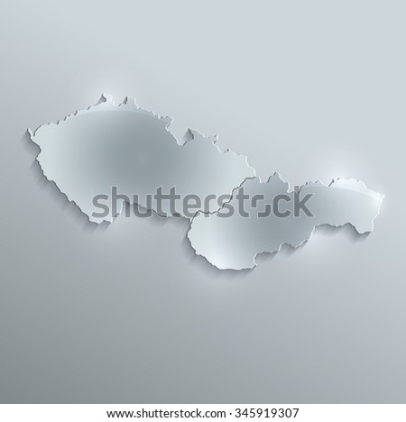 Czech Slovakia map glass card paper 3D raster Czechoslovakia separate maps - stock photo