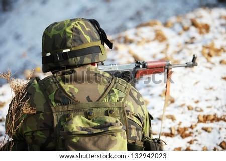 czech soldier - combat mission - stock photo