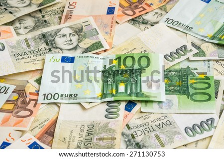 Czech 2 thousand and Euro 50 and 100 money banknotes background - stock photo