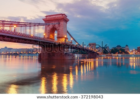 Czechenyi Chain Bridge in Budapest, Hungary, early in the morning. Focus on the bridge - stock photo