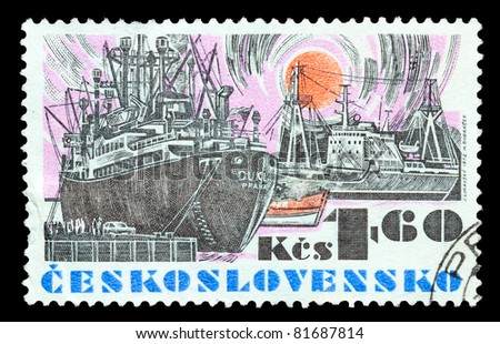 CZECHOSLOVAKIA - APPROXIMATELY 1972: The stamp printed in Czechoslovakia shows a ship, approximately 1972 - stock photo