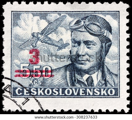 CZECHOSLOVAKIA - AUGUST 10, 2015: A stamp printed by CZECHOSLOVAKIA shows image portrait of captain Frantisek Novak, circa July, 1946. - stock photo
