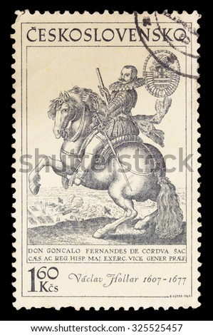 CZECHOSLOVAKIA - CIRCA 1969: A postage stamp printed in Czechoslovakia shows a portrait of Wenceslaus Hollar riding a horse, circa 1969 - stock photo