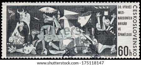 CZECHOSLOVAKIA - CIRCA 1966: A postage stamp printed in the Czechoslovakia shows Guernica painting by Pablo Picasso from Museo Reina Sofia Madrid Spain, circa 1966 - stock photo