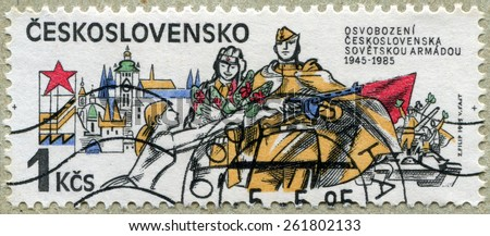 CZECHOSLOVAKIA - CIRCA 1985: a stamp from Czechoslovakia commemorates 40th anniversary of the liberation of Czechoslovakia by the Soviet Army, circa 1985 - stock photo