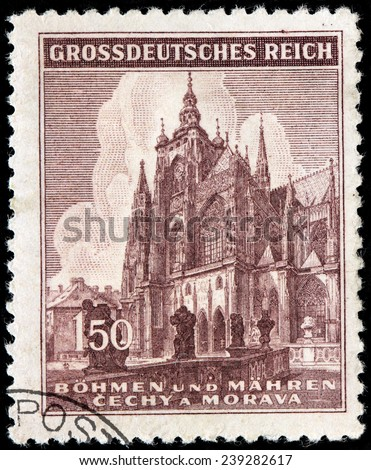CZECHOSLOVAKIA - CIRCA 1945: A stamp printed by BOHEMIA AND MORAVIA (German Occupation Issues) shows Saint Vitus Cathedral in Prague, circa 1945 - stock photo