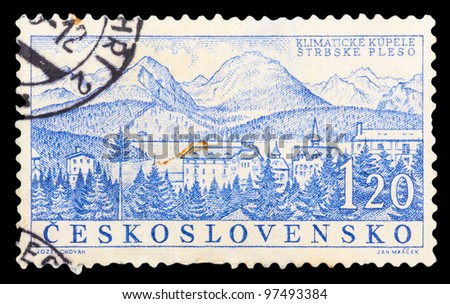 CZECHOSLOVAKIA - CIRCA 1958: a stamp printed by CZECHOSLOVAKIA shows a view of the climatic health resort Strbske Pleso, series, circa 1958 - stock photo