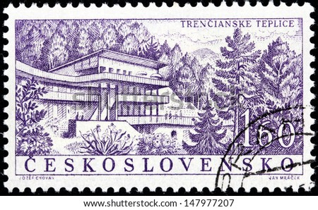 CZECHOSLOVAKIA - CIRCA 1958: A stamp printed by Czechoslovakia shows beautiful view of Trencianske Teplice (Trentschinteplitz) - a health resort and small spa town in western Slovakia, circa 1958. - stock photo