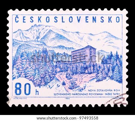 CZECHOSLOVAKIA - CIRCA 1964: a stamp printed by CZECHOSLOVAKIA shows Low Tatras, series, circa 1964 - stock photo
