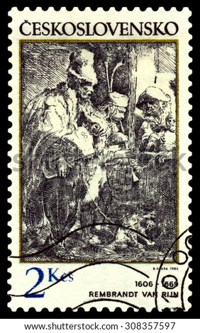 CZECHOSLOVAKIA - CIRCA 1982: A stamp printed by Czechoslovakia shows  musicians by Rembrandt van Rijn (1606 - 1669) .  - stock photo