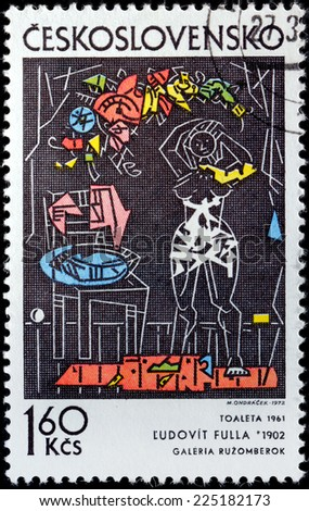 CZECHOSLOVAKIA - CIRCA 1972: A stamp printed by CZECHOSLOVAKIA shows picture Dressing by Slovak painter, graphic artist, illustrator, designer and art teacher Ludovit Fulla, circa 1972 - stock photo