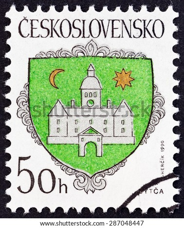 "CZECHOSLOVAKIA - CIRCA 1990: A stamp printed in Czechoslovakia from the ""Arms of Czech Towns "" issue shows Bytca Coat of Arms, circa 1990. - stock photo"