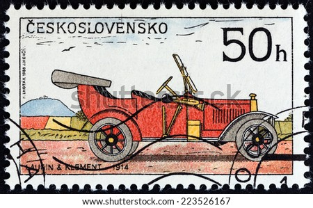 "CZECHOSLOVAKIA - CIRCA 1988: A stamp printed in Czechoslovakia from the ""Historic Motor Cars "" issue shows Laurin and Klement Car, 1914, circa 1988.  - stock photo"