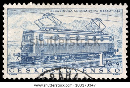 CZECHOSLOVAKIA - CIRCA 1956: A stamp printed in Czechoslovakia showing the 'E499.0' Locomotive of 1954, circa 1956. - stock photo