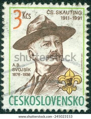 CZECHOSLOVAKIA - CIRCA 1991: A stamp printed in Czechoslovakia shows Antonin Benjamin Svojsik - founder of the Czechoslovak Scouting organization Junak, circa 1991 - stock photo
