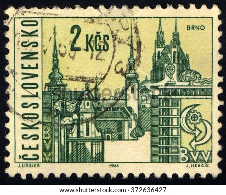 CZECHOSLOVAKIA - CIRCA 1965: A stamp printed in Czechoslovakia shows Brno City View, circa 1965 - stock photo