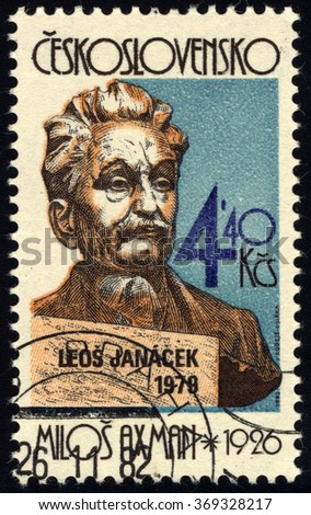 CZECHOSLOVAKIA - CIRCA 1982: A stamp printed in Czechoslovakia shows Czech Composer Leos Janacek, a bust by Milos Axman, circa 1982 - stock photo