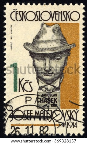 CZECHOSLOVAKIA - CIRCA 1982: A stamp printed in Czechoslovakia shows Czech Writer Jaroslav Hasek, sculpture by Josef Malejovsky, circa 1982 - stock photo