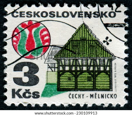 "CZECHOSLOVAKIA - CIRCA 1971: A stamp printed in Czechoslovakia, shows Half-timbered house, Melnicko, with the same inscription, from the series ""Czechoslovaki a Regional Buildings"", circa 1971 - stock photo"