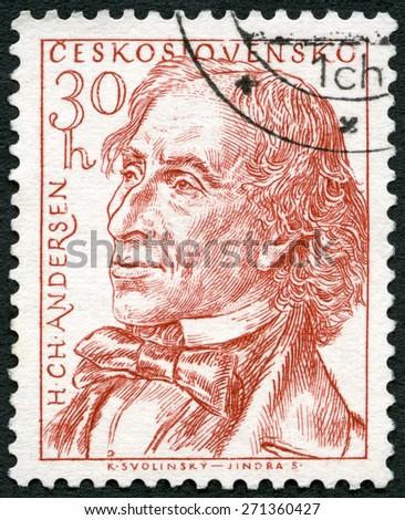 CZECHOSLOVAKIA - CIRCA 1955: A stamp printed in Czechoslovakia shows Hans Christian Andersen (1805-??1875), a writer, circa 1955 - stock photo